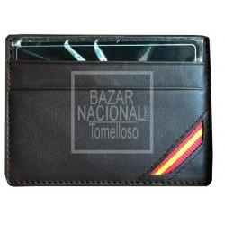 Tarjetero Piel Marrón Bandera en Esquina