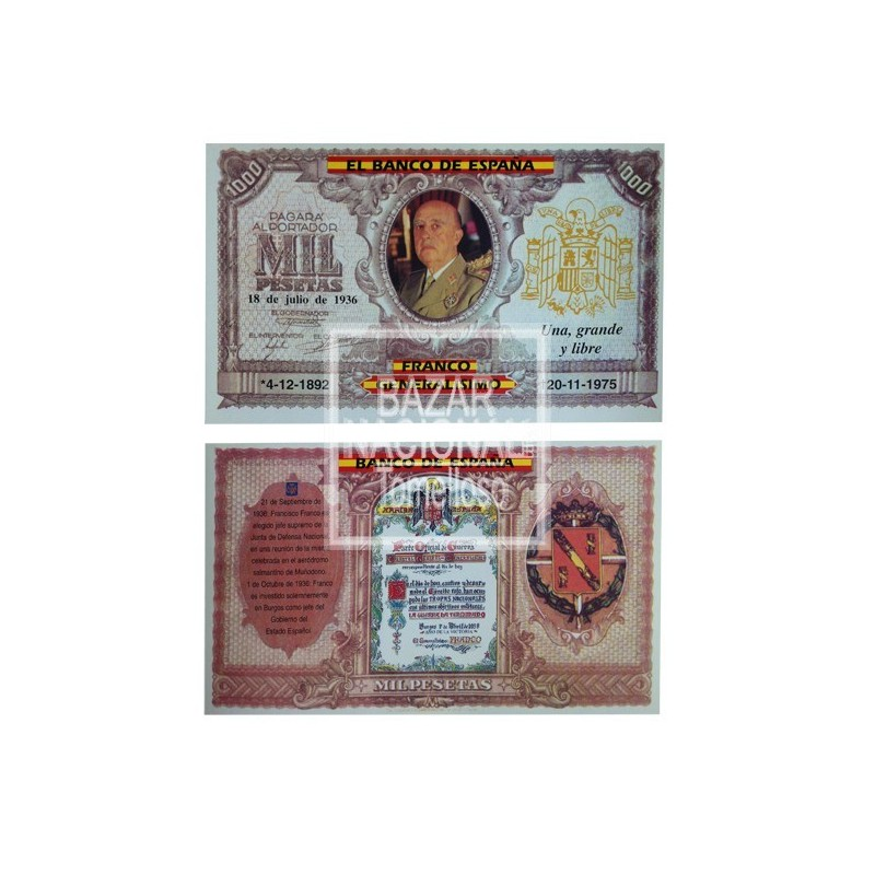 Billete Mil Pesetas Fco. Franco