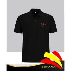 Camiseta Polo Negra Bordado Bandera España