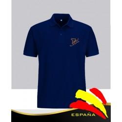 Camiseta Polo Azul Marino Bandera España Bordada