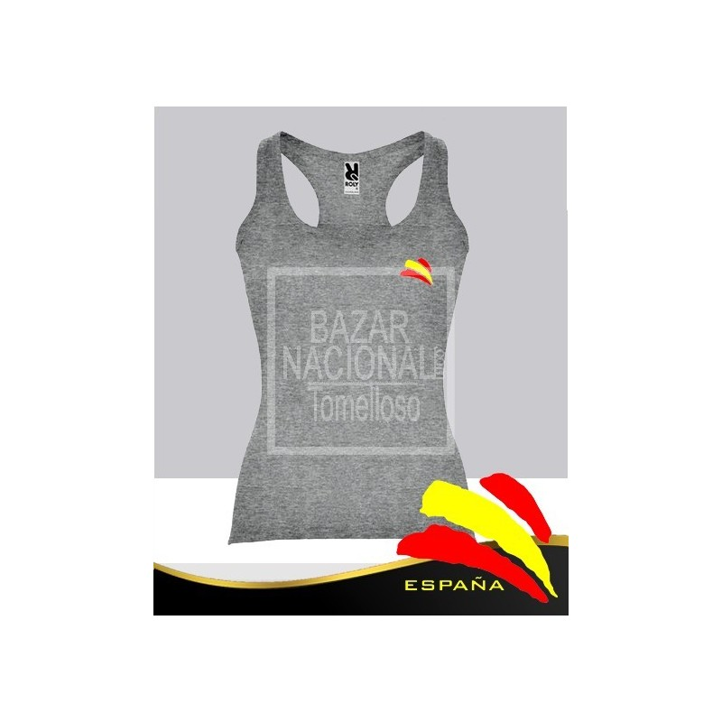 Camiseta Tirantes Mujer Gris Bandera