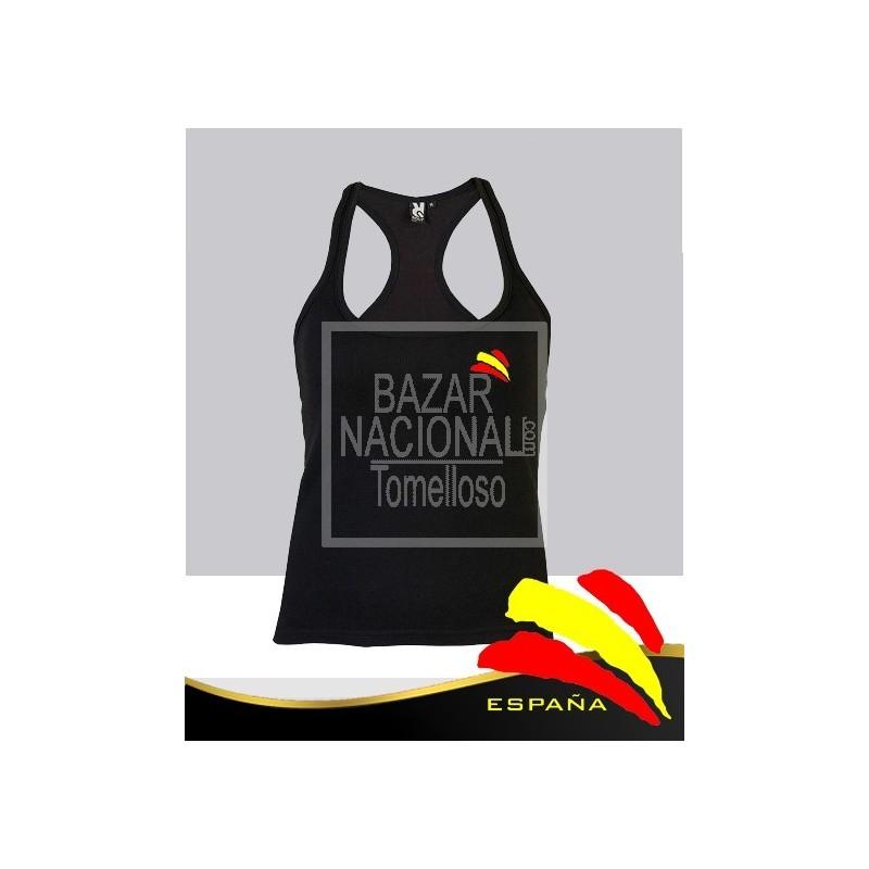 Camiseta Tirantes Mujer Negra Bandera
