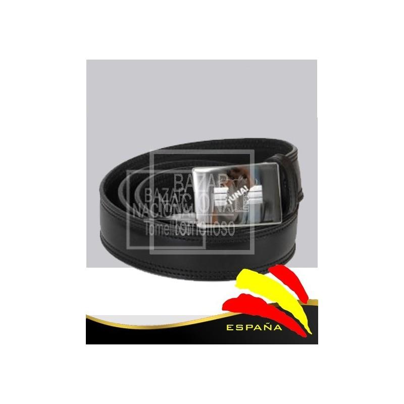 Cinturón Piel Negro Hebilla Grabada España UNA