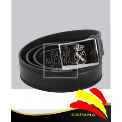 Cinturón Piel Negro Hebilla Grabada Guardia Civil