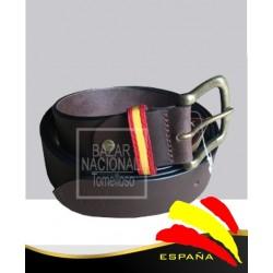 Cinturón Piel Marrón Trabilla Bandera España