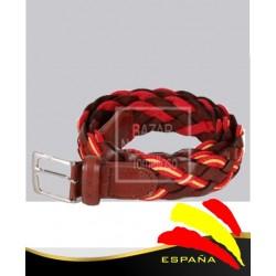Cinturón Trenzado Marrón Piel Bandera España