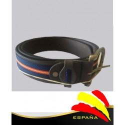 Cinturón Piel Centro Azul con Bandera España