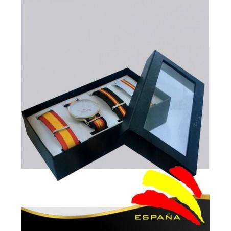 Set Reloj bandera España cuatro correas intercambiables