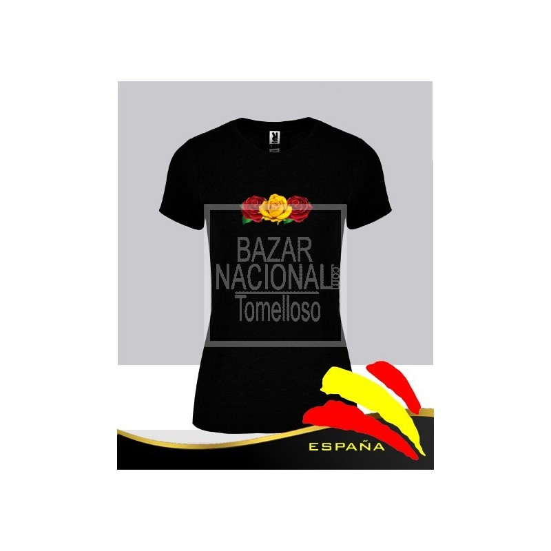 Camiseta Negra Mujer Manga Corta Flores Bandera