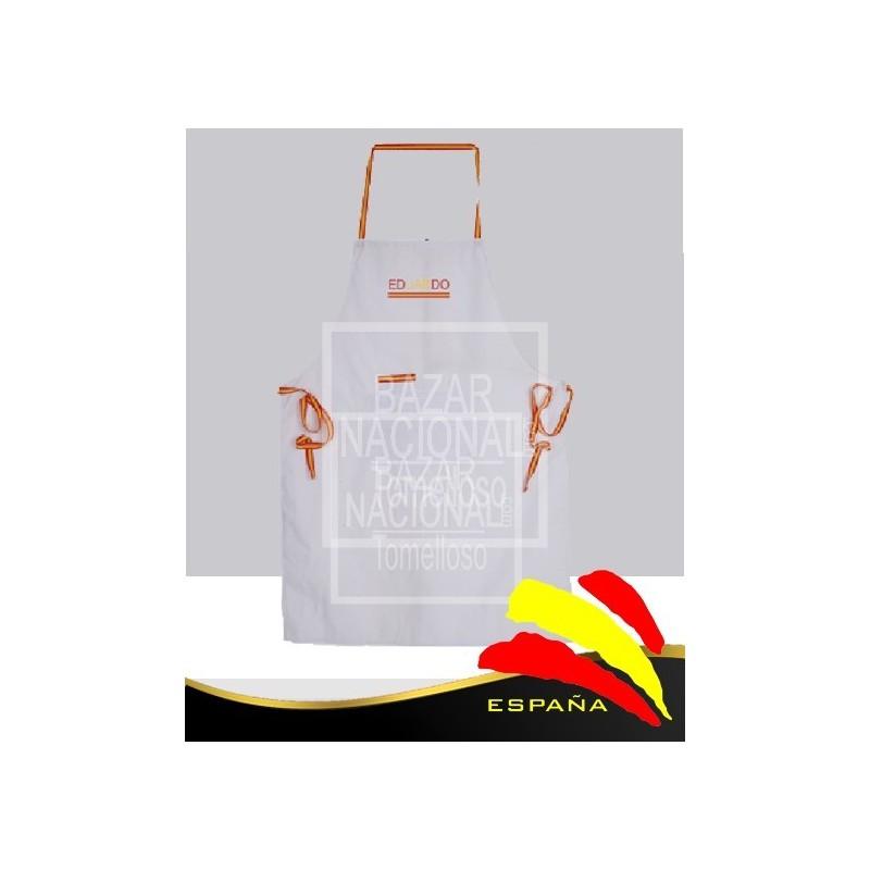 Delantal Blanco Cintas Bandera España
