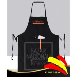 Delantal Negro Cintas Bandera España Personalizado