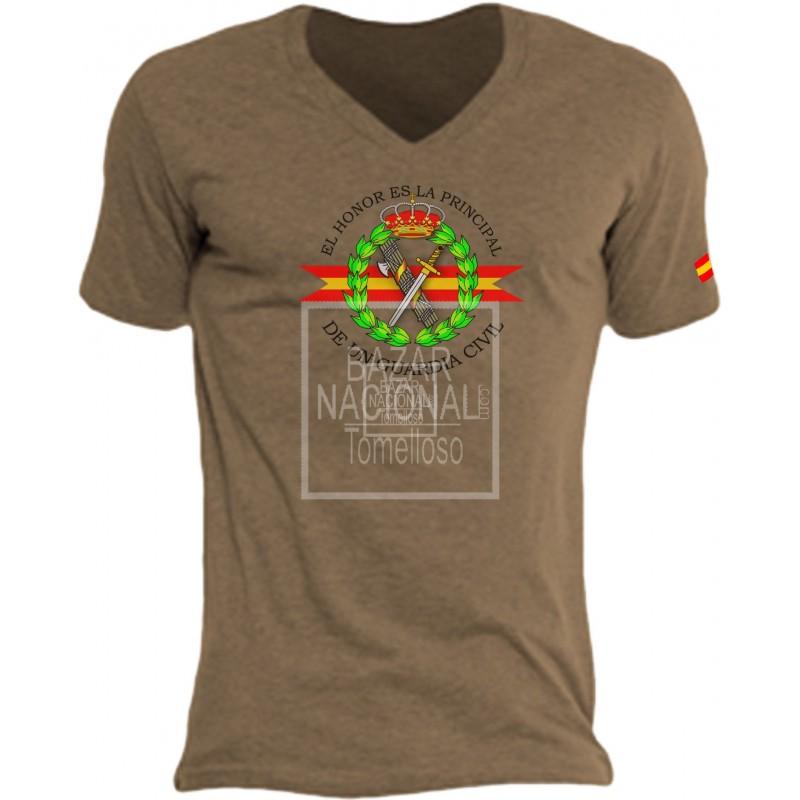 Camiseta color Tabaco Emblema Guardia Civil