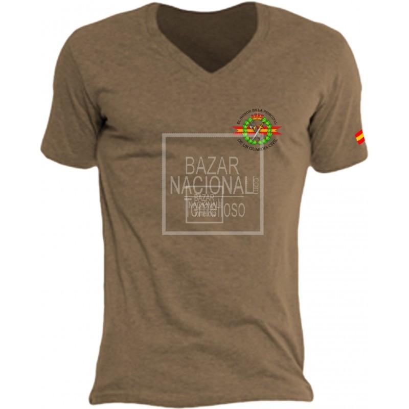 Camiseta Color Tabaco Emblema Guardia Civil en Bolsillo