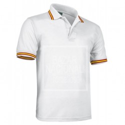 Camiseta Polo Blanca Bandera Cuello y Mangas